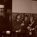 Don Kerr,Jason Mercer,Sarah Slean and Tim in the Grapes pub in Liverpool where the Fabs would sneak a pint between Cavern sets on Matthew St.