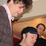 Ron Sexsmith,Tim and Fergus Hambleton around the piano